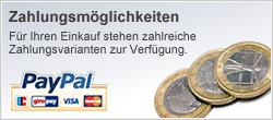 Zahlungsmögleichkeiten: Für Ihren Einkauf stehen zahlreiche Zahlungsvarianten zur Verfügung.